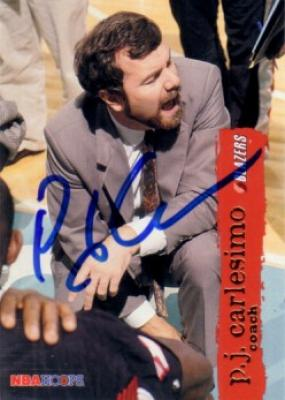 P.J. Carlesimo (Seton Hall) autographed 1995-96 Hoops card