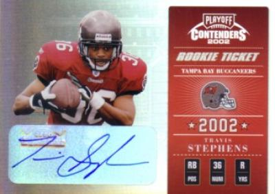Travis Stephens certified autograph 2002 Playoff Contenders card #158/170