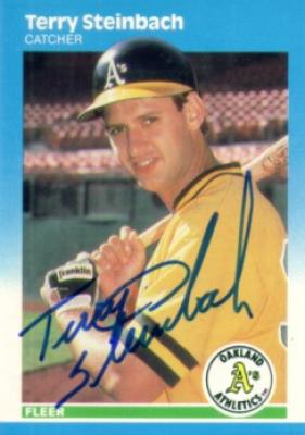 Terry Steinbach autographed Oakland A&#039;s 1987 Fleer Rookie Card