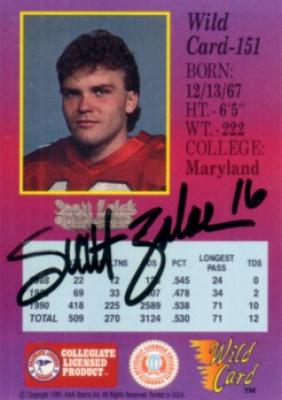 Scott Zolak autographed Maryland 1991 Wild Card card
