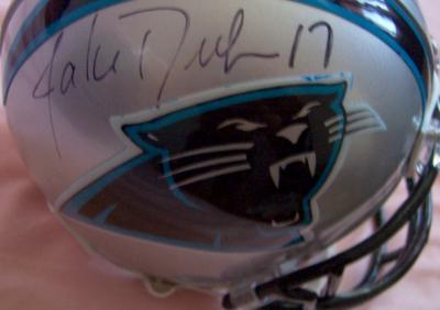 Jake Delhomme & Steve Smith autographed Carolina Panthers mini helmet