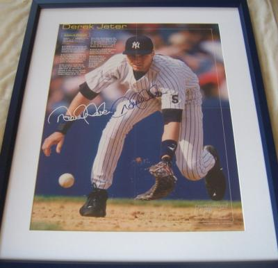 Derek Jeter autographed New York Yankees 16x20 inch poster matted &amp; framed