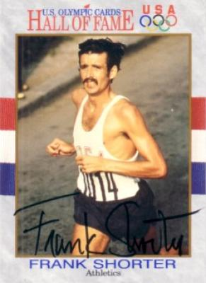 Frank Shorter (marathon runner) autographed Olympic Hall of Fame card