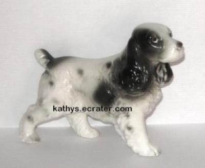 Black white Springer Spaniel 1876 Dog Animal Figurine