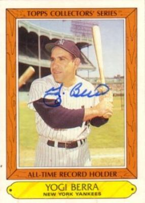 Yogi Berra autographed New York Yankees 1985 Topps All-Time Record Holder card