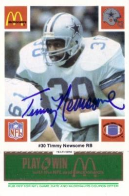 Timmy Newsome autographed Dallas Cowboys 1986 McDonald's card