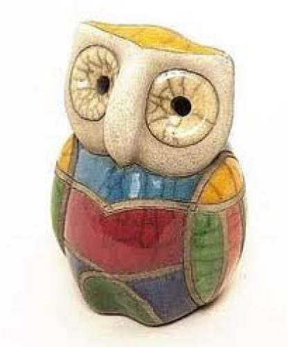 Decorative; Raku pottery ceramic animals owl ornament decorative