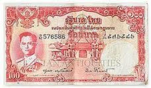 Banknotes; Thailand 100 Baht banknote - King Rama IX
