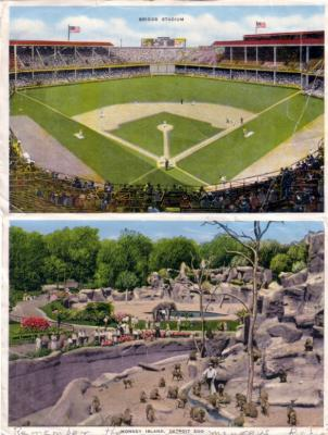 Detroit Tigers Briggs Stadium 1940s postcard size photo