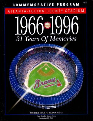 David Justice autographed 1996 Atlanta Braves Fulton County Stadium commemorative program