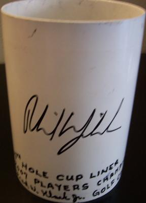 Phil Mickelson autographed 2007 Players Championship TPC Sawgrass 17th hole cup liner