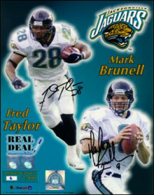 Fred Taylor &amp; Mark Brunell autographed Jaguars 16x20 poster size photo ltd. edit. 99