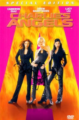 Drew Barrymore Cameron Diaz Lucy Liu autographed Charlie&#039;s Angels DVD insert