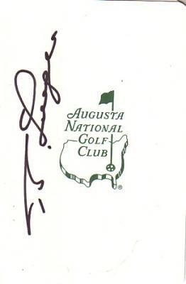 Bernhard Langer autographed Augusta National Masters scorecard