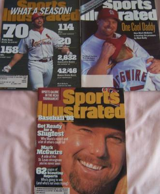 Mark McGwire lot of three 1998 St. Louis Cardinals Sports Illustrated issues
