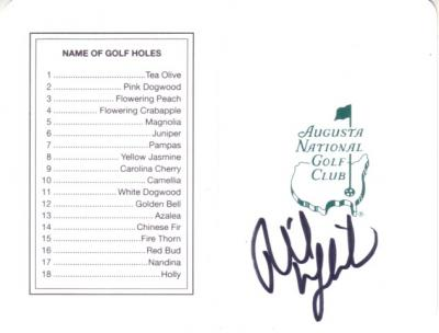 Phil Mickelson autographed Augusta National Masters scorecard