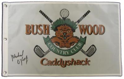 Michael O&#039;Keefe (Danny) autographed Caddyshack Bushwood Country Club golf pin flag