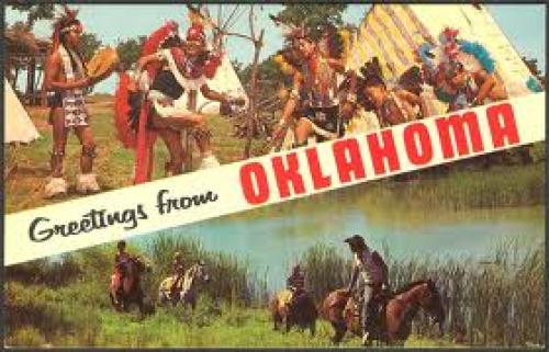 U.S.A. in the heart of Oklahoma, Home of the Red Man - Postcard