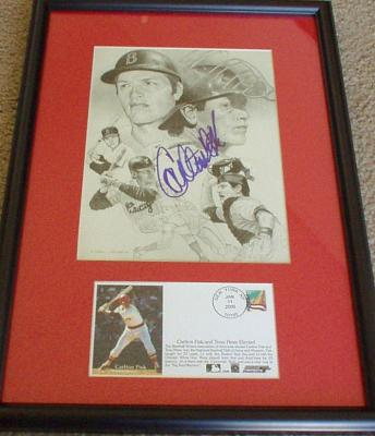 Carlton Fisk autographed artwork matted &amp; framed with Hall of Fame cachet