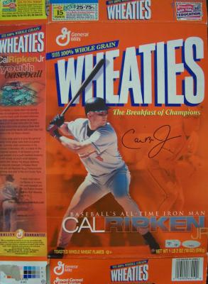Cal Ripken autographed Baltimore Orioles 2001 Iron Man Wheaties box
