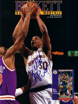 Billy Owens autographed Golden State Warriors 1992 Beckett Basketball cover