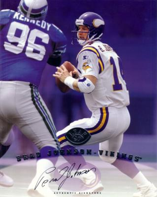Brad Johnson certified autograph Minnesota Vikings 1997 Leaf Signature 8x10 photo card