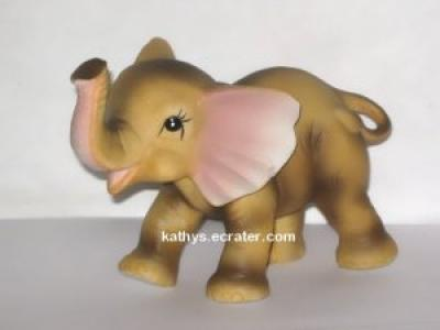 Ceramic Brown Baby Elephant Calf Animal Figurine