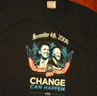 Barack Obama 2008 Change Can Happen navy blue T-shirt NEW