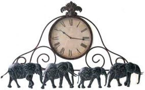 Metal Elephant Wall Clock (wall decoration)