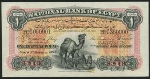 Banknotes; Egyptian‑banknote‑1899‑Camel‑Specimen‑