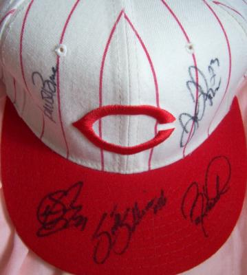 1999 Cincinnati Reds autographed authentic game model cap Aaron Boone Sean Casey Barry Larkin