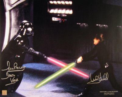 Mark Hamill & Dave Prowse autographed Star Wars 16x20 Luke Skywalker vs Darth Vader poster