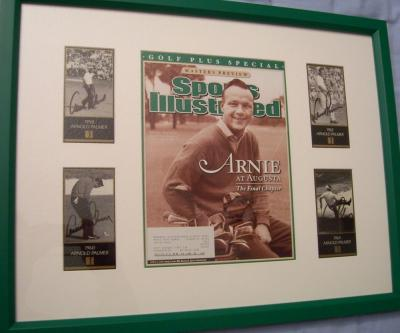 Arnold Palmer autographed four Masters Champion golf cards framed with Sports Illustrated cover