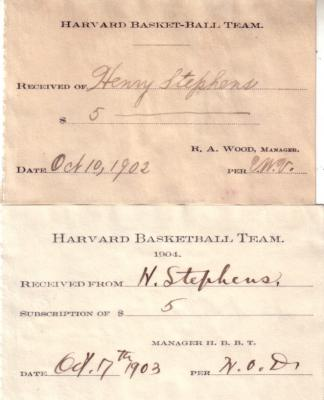 1902 & 1903 Harvard Basketball ticket receipts