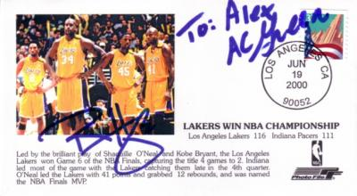 A.C. Green & Ron Harper autographed Los Angeles Lakers 2000 NBA Championship cachet