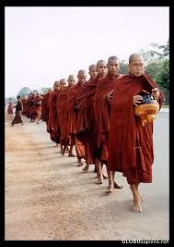 Postcard Theravada Buddhist monks begging