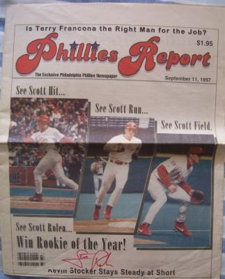 Scott Rolen autographed 1997 Phillies Report newspaper