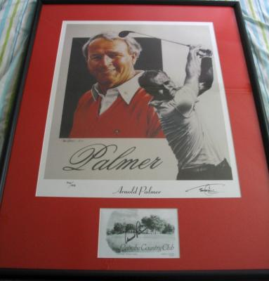 Arnold Palmer autographed Latrobe Country Club scorecard framed with lithograph