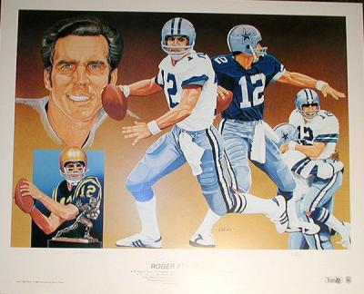 Roger Staubach autographed Dallas Cowboys lithograph by Vernon Wells ltd edit 750