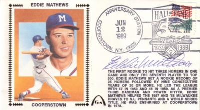 Eddie Mathews autographed Braves 1989 Hall of Fame cachet envelope