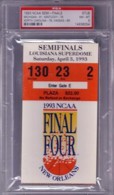 1993 NCAA Final Four Semifinals ticket PSA 8 (North Carolina & Michigan Fab 5 Win)