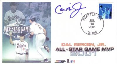 Cal Ripken autographed Baltimore Orioles 2001 All-Star Game MVP cachet envelope