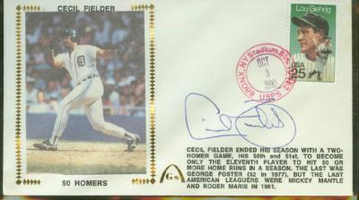 Cecil Fielder autographed 1990 Detroit Tigers 50 Homers Gateway cachet envelope