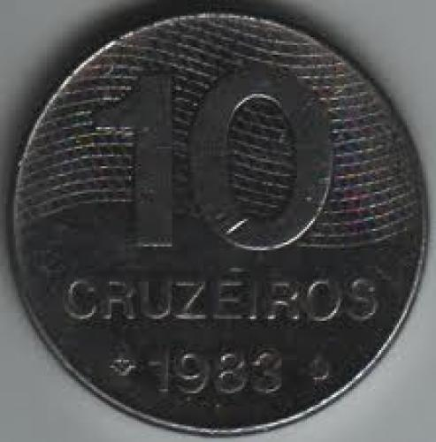 Coins; Brazil 10 Cruzeiro 1983