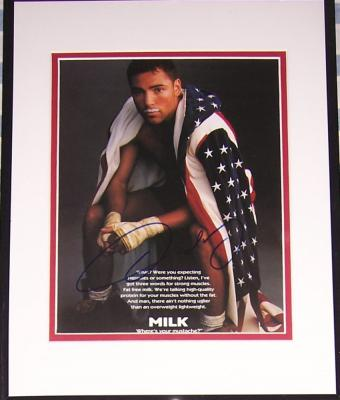 Oscar De La Hoya autographed MILK ad matted &amp; framed