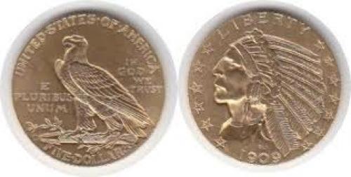 Coins;USA Gold 5 Dollars 1909 D, Denver Indianer coin