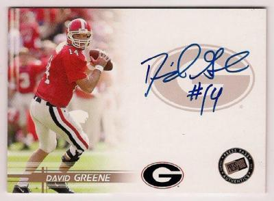 David Greene certified autograph Georgia 2005 Press Pass card