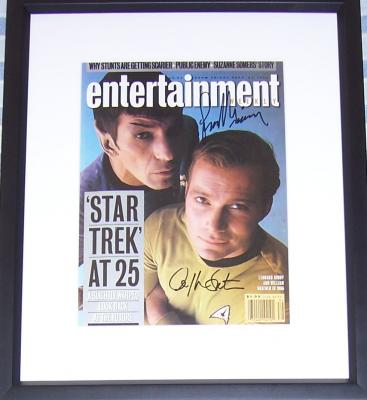 Leonard Nimoy & William Shatner autographed Star Trek Entertainment Weekly cover framed