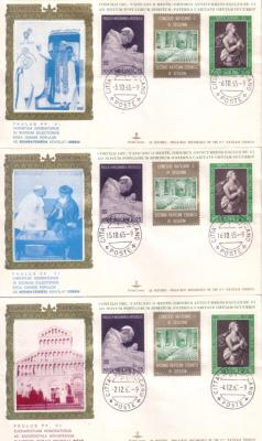 1965 Pope Paul VI set of 3 First Day Covers (dual cancellations)