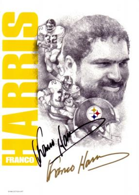 Franco Harris autographed Pittsburgh Steelers 5x7 greeting card